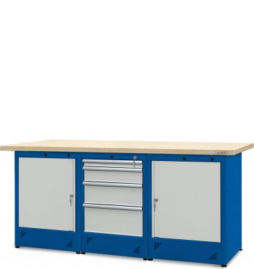 Stół warsztatowy 2100mm, 1 szafka H12, 2 szafki H11