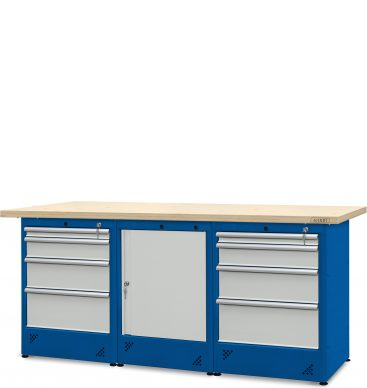 Stół  warsztatowy 2100mm, 2 szafki H12, 1 szafka H11