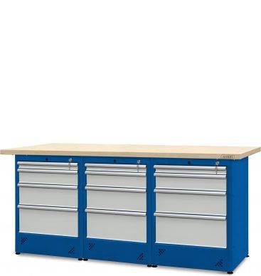 Stół warsztatowy 2100mm, 3 szafki H12