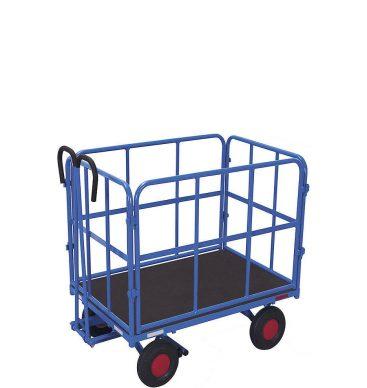 Wózek platformowy z dyszlem 1000x700mm, 4 burty rurkowe