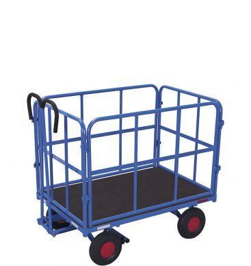 Wózek platformowy z dyszlem 1200x800mm, 4 burty rurkowe