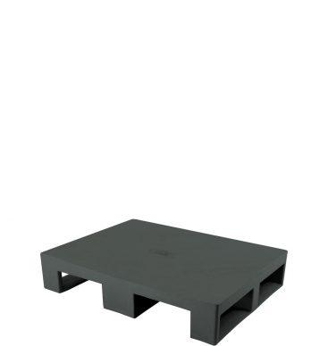 Półpaleta plastikowa 800x600mm, pełna, na płozach, czarna